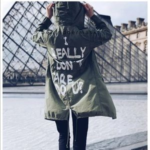"Zara ""I really don't care"" Green Parka Jacket"
